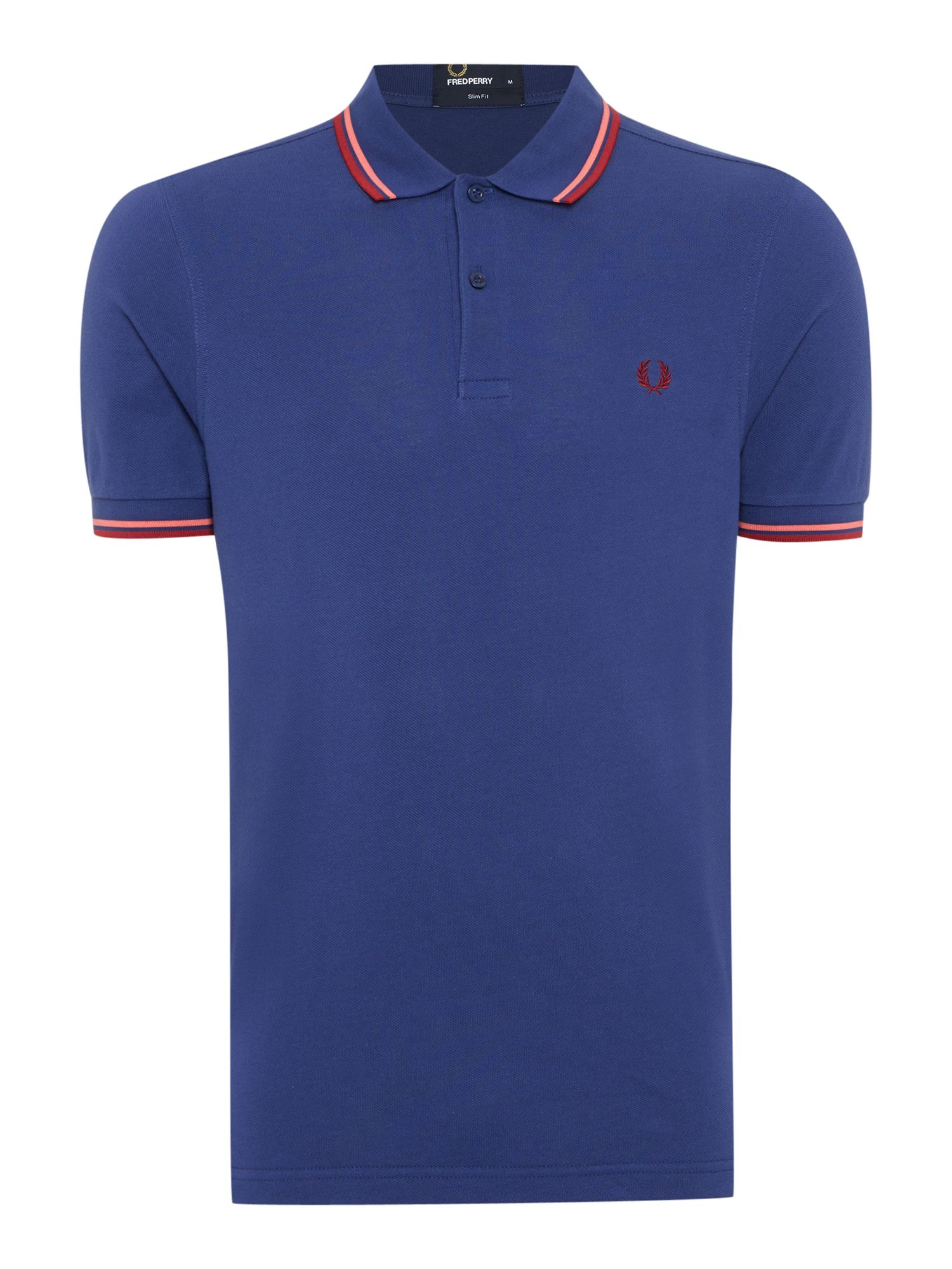 Mens Fred Perry Plain Slim Fit Polo Shirt Dark Blue