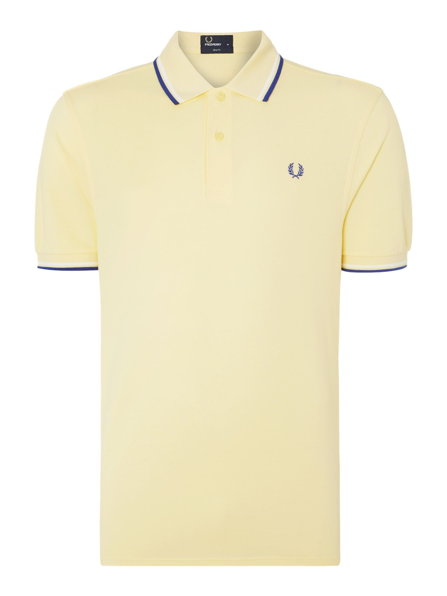 Mens Fred Perry Plain Polo Slim Fit Polo Shirt Yellow