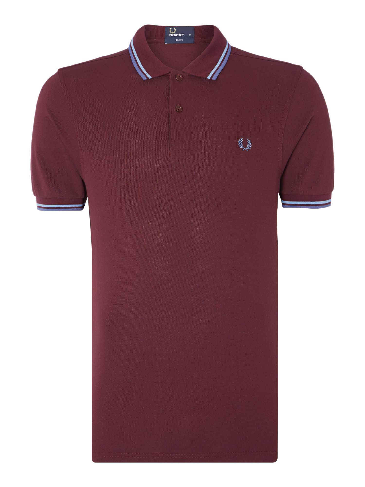 Mens Fred Perry Plain Slim Fit Polo Shirt Mahogany