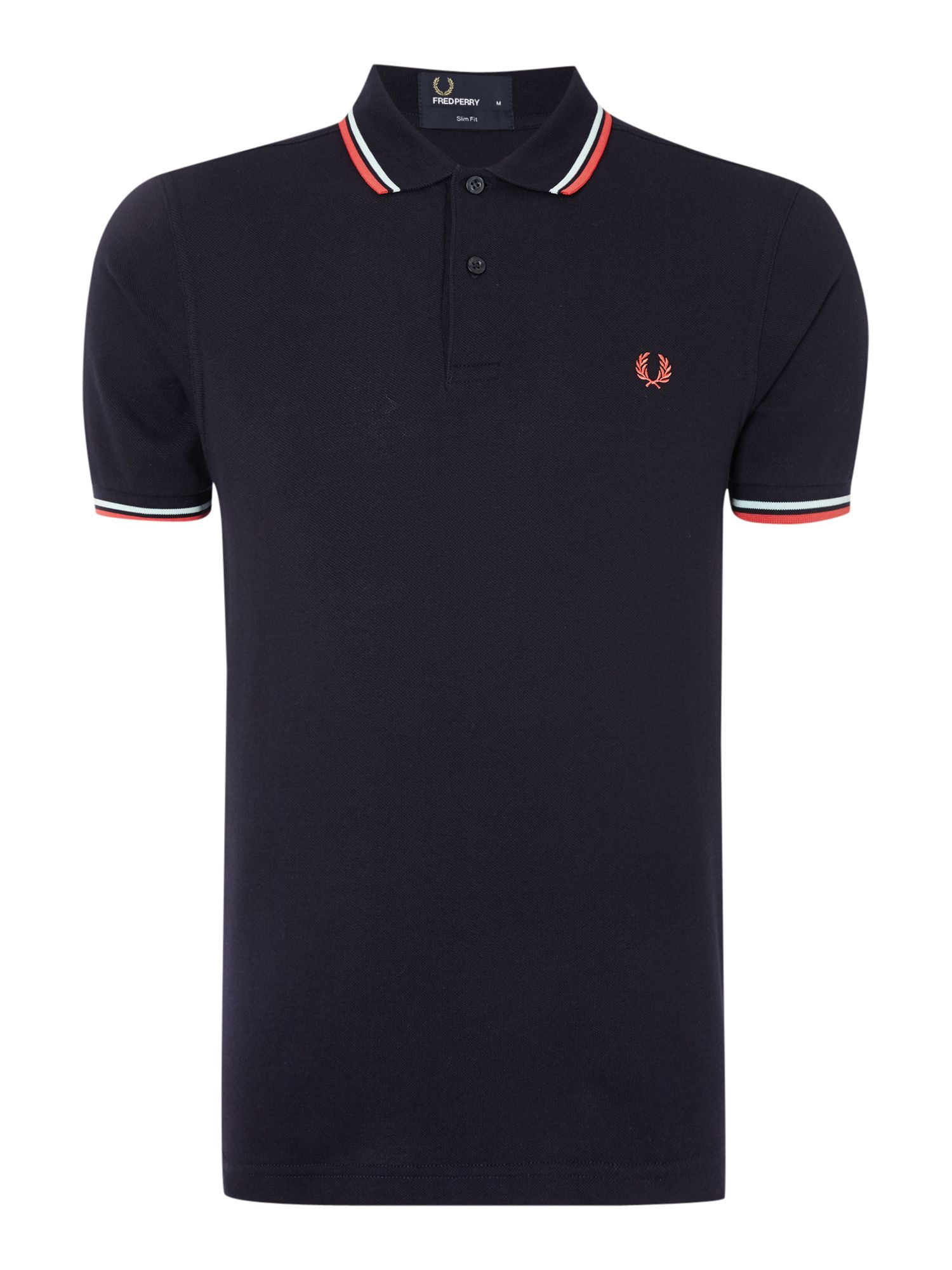 Mens Fred Perry Plain Slim Fit Polo Shirt Navy