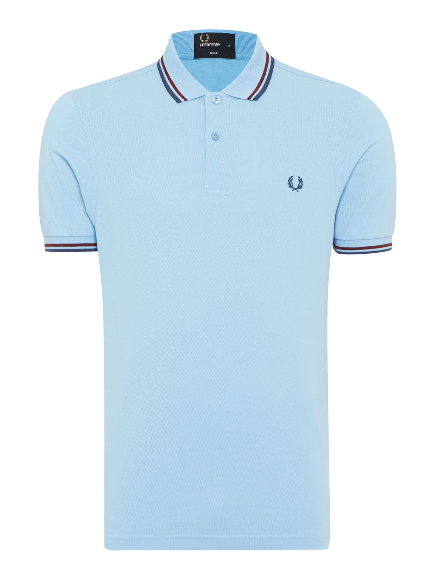 Mens Fred Perry Plain Slim Fit Polo Shirt Powder Blue