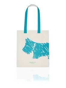 Scribble dog blue medium tote bag