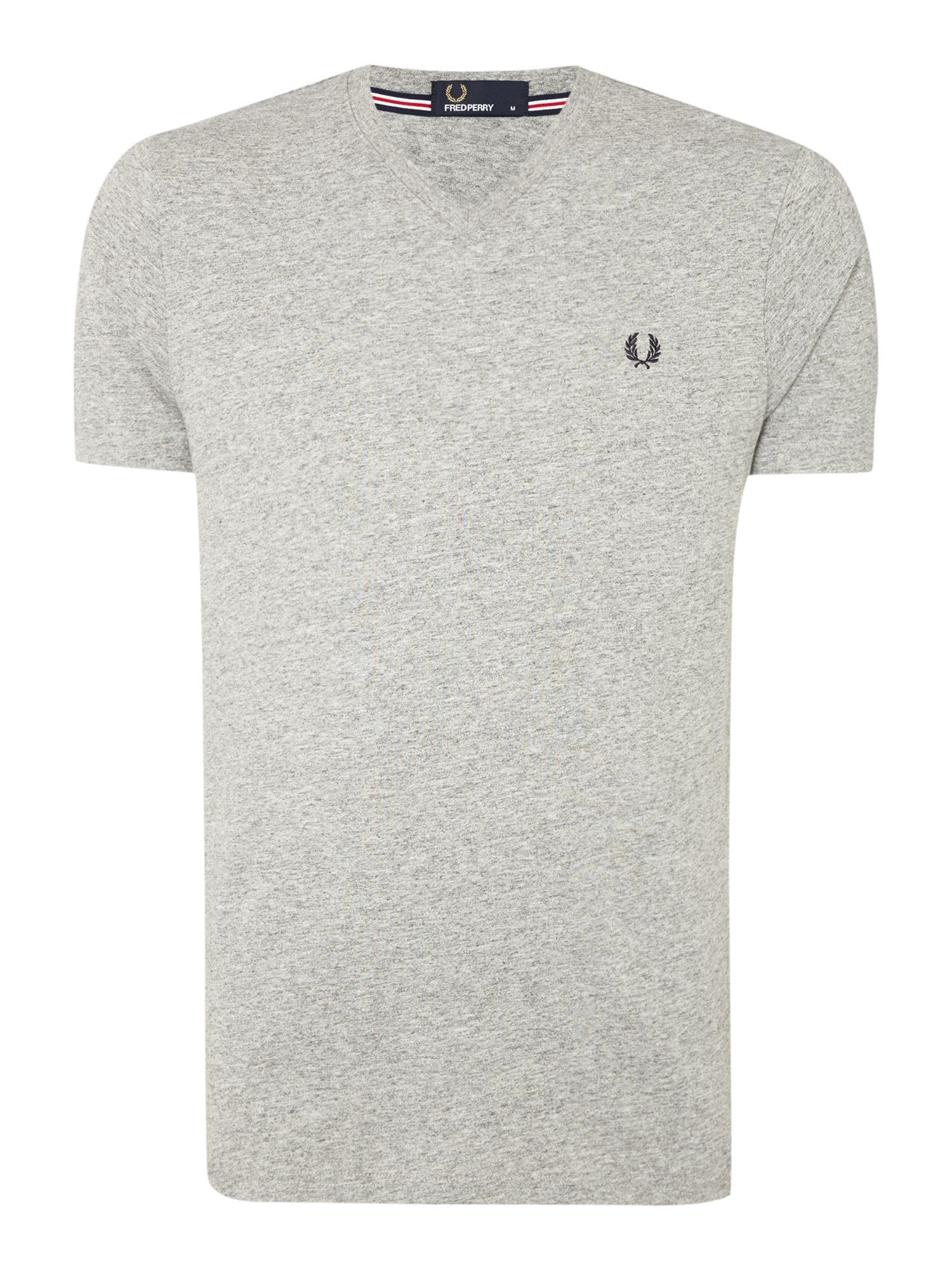 Men's Fred Perry Plain V Neck Regular Fit T-Shirt, Grey Marl