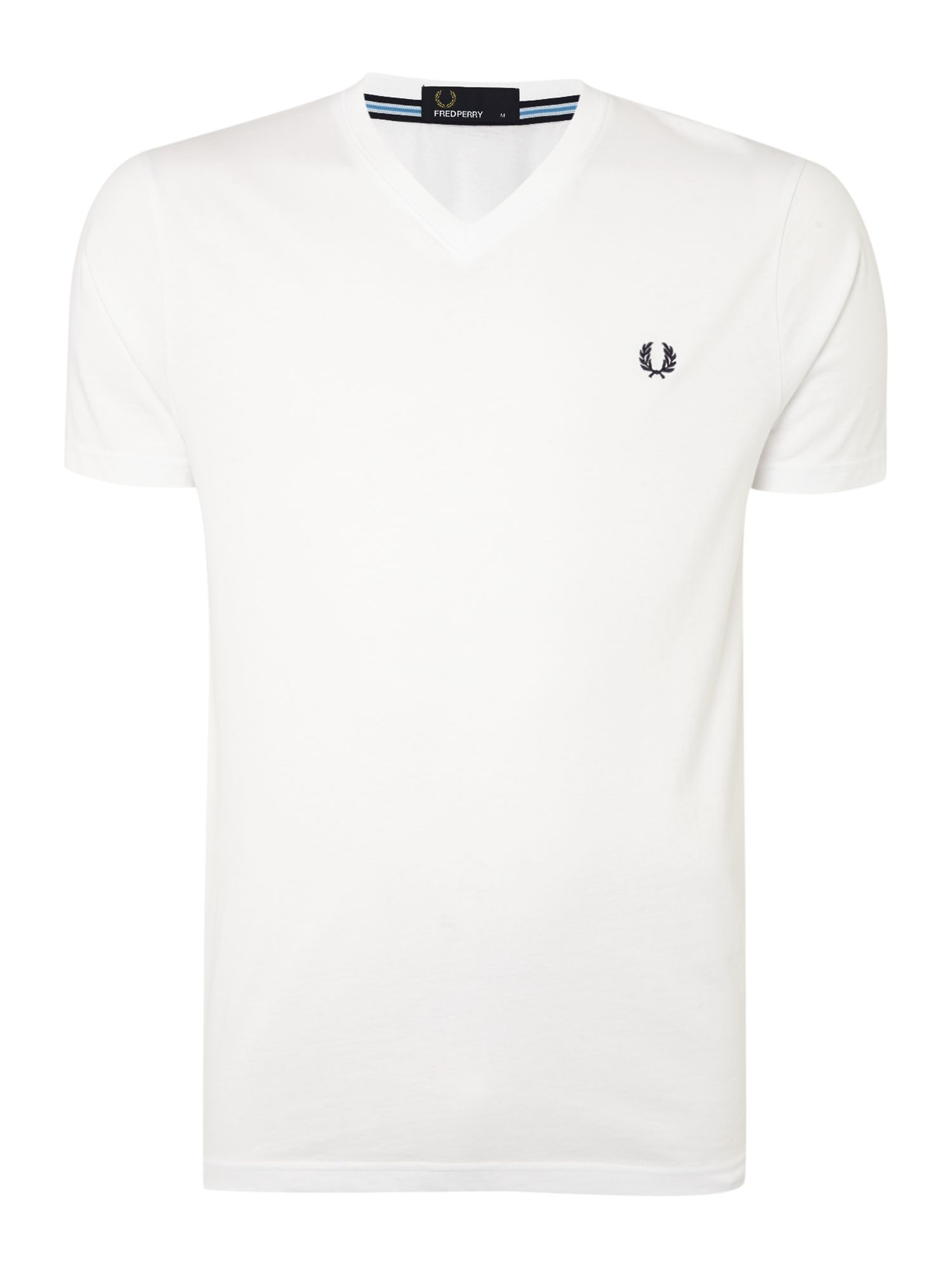 Men's Fred Perry Plain V Neck Regular Fit T-Shirt, White