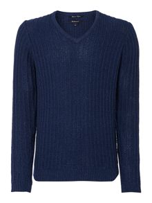 Gant Ribbed V Neck Pull Over Jumper