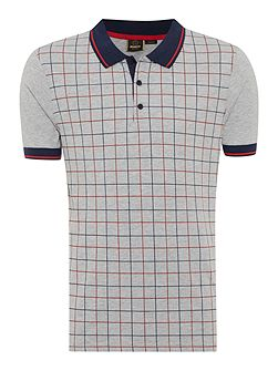 Grid Print Short Sleeve Polo Shirt