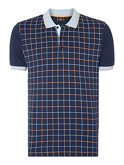 Men's Merc Grid Print Short Sleeve Polo Shirt