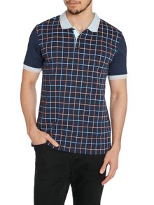 Merc Grid Print Short Sleeve  Polo Shirt