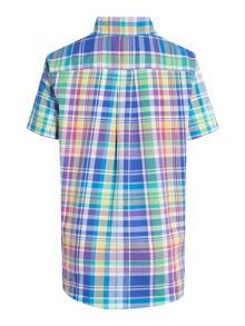 Boys Button Down Madras Check Small Pony Shirt