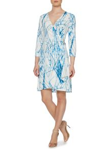 Printed wrap dress with clasp