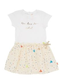 Baby girls short sleeved dress with bow