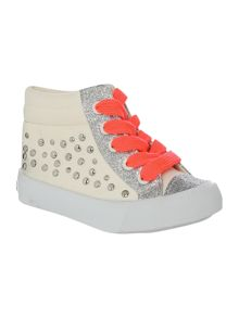 Baby girls silver stud sneackers