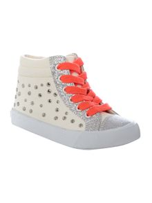 Girls Silver Stud Sneackers