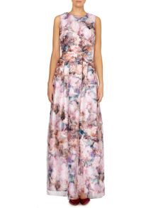 Floral maxi dress with organza overlay