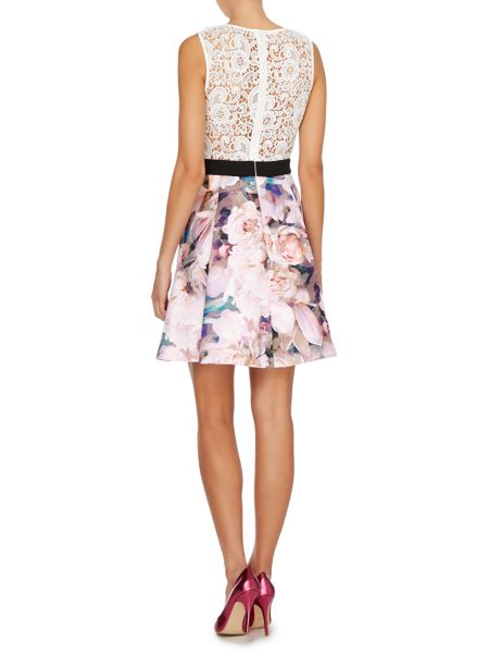 Untold Fit and flare dress with lace top