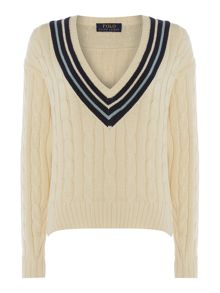 Long sleeved chunky knit with deep v neck