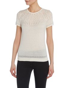 Short sleeve knitted sweater