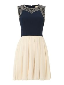 sleeveless embellished top fit and flare dress