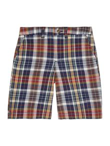 Boys Madras Check Short With Small Pony On Rear