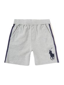 Boys Sweat Mesh Side Shorts With Large Pony