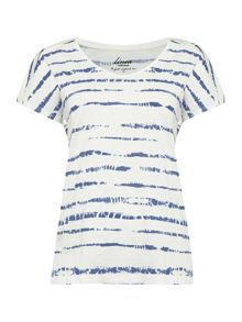Linea Weekend Top tie dye stripe easy v tee