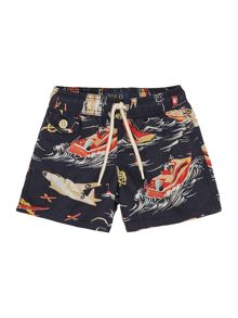 Boys Boat And Plane Print Swim Short