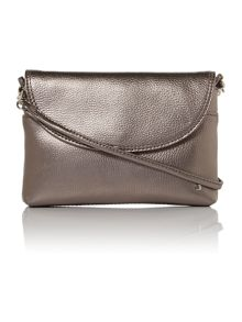Metallic silver cross body bag