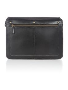 Saddle Black flap over satchel