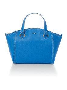 Saffiano blue east west tote bag