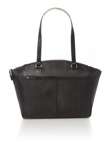 Saffiano black large east west tote bag