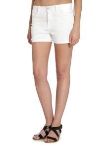 Denim cut off short in off white stretch