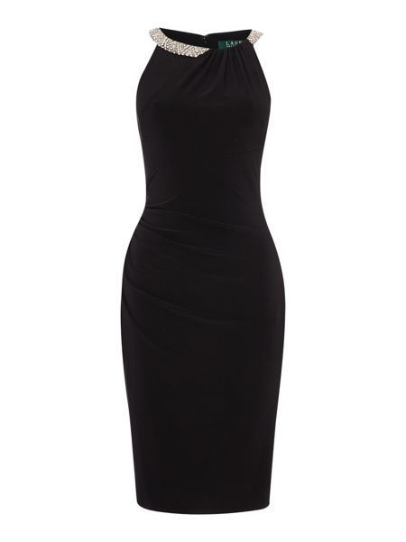 Lauren Ralph Lauren Sonella jersey dress with embellished neck