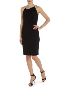 Sonella jersey dress with embellished neck