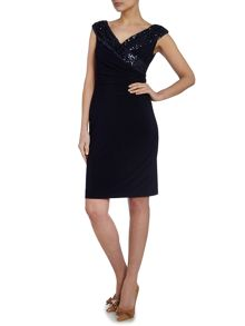 Cynthia embellished wrap with deep v dress