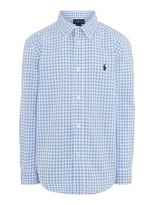Boys long sleeved gingham shirt