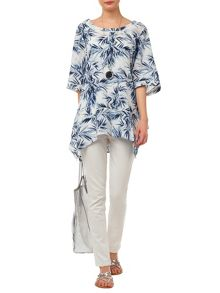Palm print oversized blouse