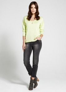 Lime Scoop Neck Knit
