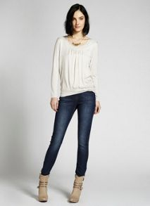 Stone Double Front Woven Mix Tee