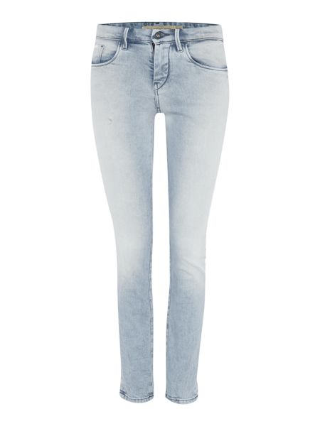 Calvin Klein Mid rise skinny ankle jean in bleach out block