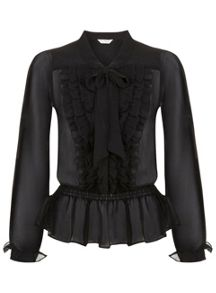 Black Ruffle Pussy Bow Blouse