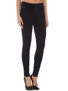 High rise satin rinse stretch super skinny jean