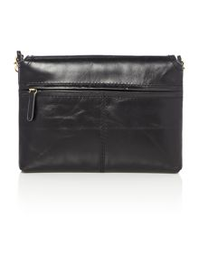Smooth black flap over cross body bag