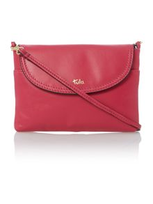 Smooth pink flap over cross body bag