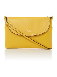 Smooth yellow small flap over cross body bag