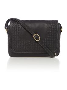 Woven Black flap over cross body bag