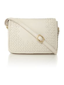 Woven Cream flap over cross body bag