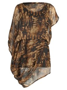 Pattern Print Asymmetric Tunic