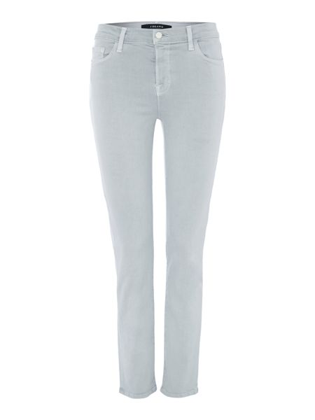 J Brand Mid rise cropped rail jean in oyster