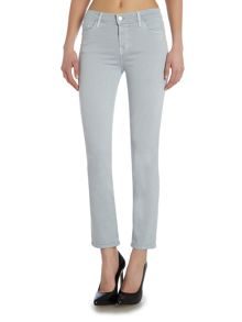 Mid rise cropped rail jean in oyster