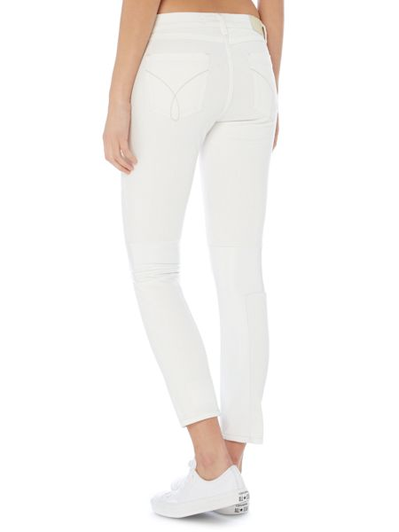 Calvin Klein Mid rise skinny jean in off white leather stretch